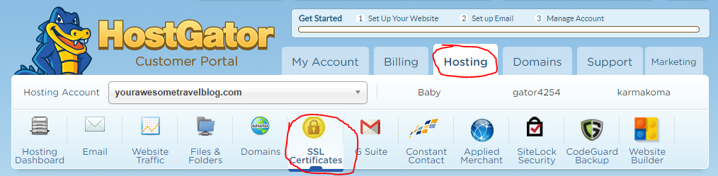 Install SSL Certificate Travel Blog on HostGator
