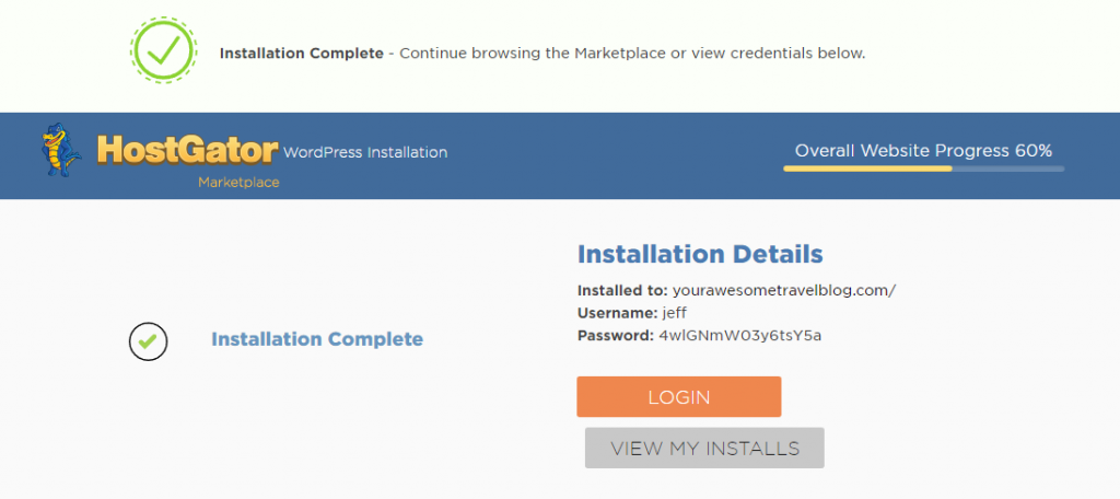 HostGator WordPress Installed