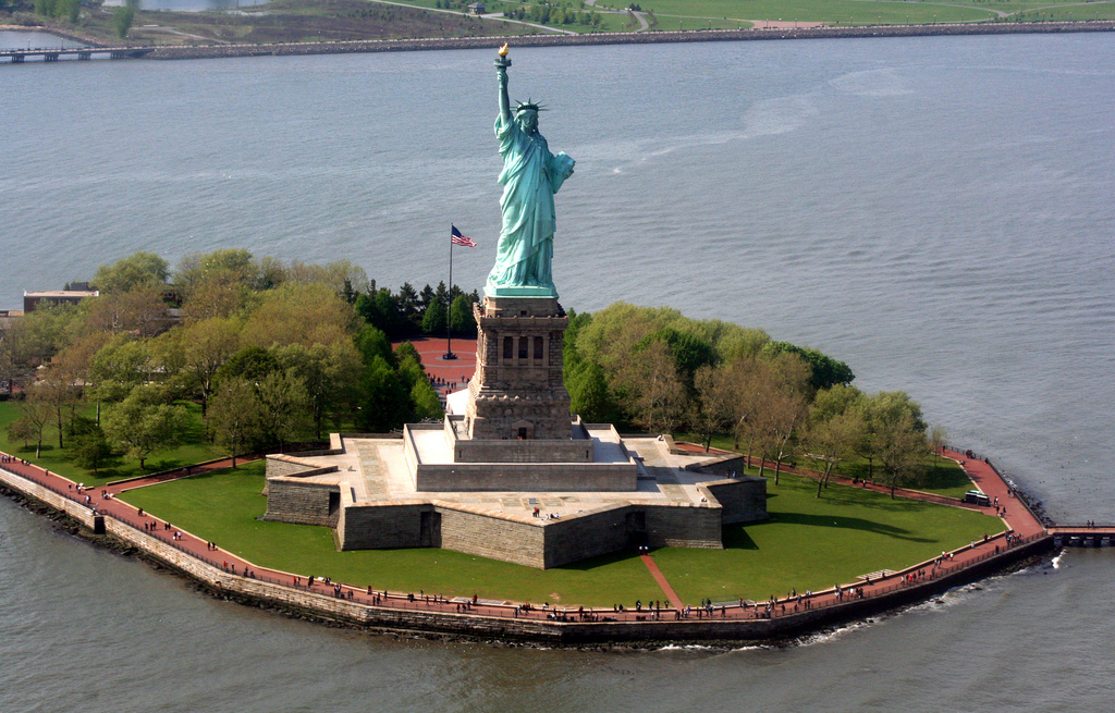 View of Statue of Liberty from Helicopter