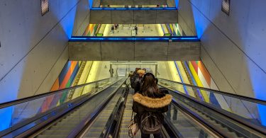 Entering a Budapest metro station