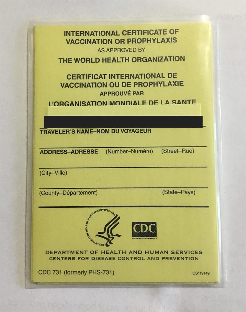 CDC International Certificate of Vaccination or Prophylaxis